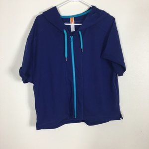 Lucy Blue Zip Up Hooded Short Sleeve Sweatshirt